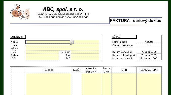 Kompletní Příklad šablona Faktury Napočítačicz